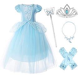 JerrisApparel Fille Robe De Cendrillon Princesse Costume Partie De Fantaisie Habiller (4 Ans, Bleu avec Accessoires)