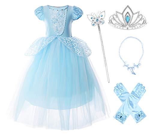 JerrisApparel Fille Robe De Cendrillon Princesse Costume Partie De Fantaisie Habiller (8 Ans, Bleu avec Accessoires)
