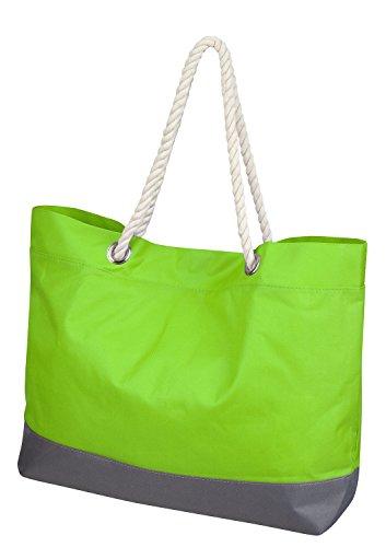 Borsa per la spesa in vari colori con occhielli e cordino cinghie, light green, Taglia unica light green