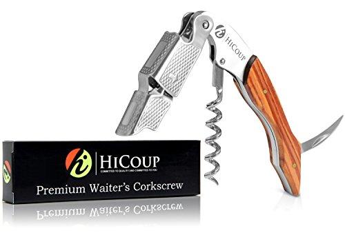 Kellnerkorkenzieher von HiCoup - Multifunktionaler Premium-Korkenzieher mit Mahagoniholz, Flaschenöffner und Folienschneider (Mahogany Wood) -