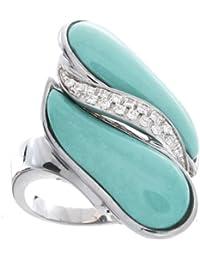 Rajola Oro Blanco 18K 14pts Diamante y Turquesa Anillo - Fly Colleción - Size Q 1/2