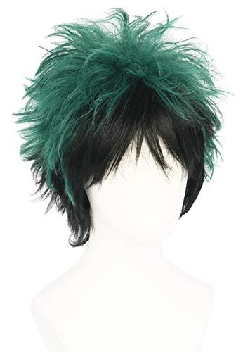 Topcosplay Unisex Cosplay Perücke, Kurz Grün Schwarz Gemischtes Haar, Anime Perücke mit Perückenkappe für Halloween, Kostüm Party, Karneval, Fasching (Halloween-kostüme Für Schwarze Haare)