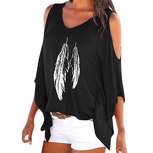 TWIFER Damen Kalte Schulter T Shirts Feder Gedruckt Batwing Langarmbluse (Dwayne Messungen Johnson)