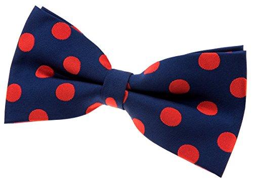 Retreez à pois chic vintage tissé pre-tied Nœud Papillon en microfibre (12,7cm) Navy Blue with Red Dots
