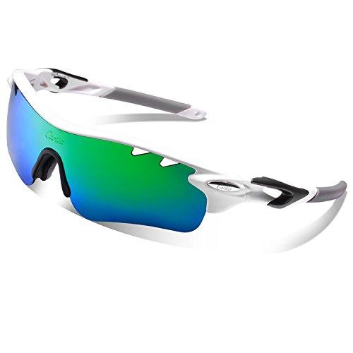 Carfia Sport Sonnenbrille UV400 Schutz Polarisierte Sonnenbrille Sportbrille für Fahren, Fahrrad, Golf, Angeln Baseball Wandern, 5 Wechselbare Linsen (F)