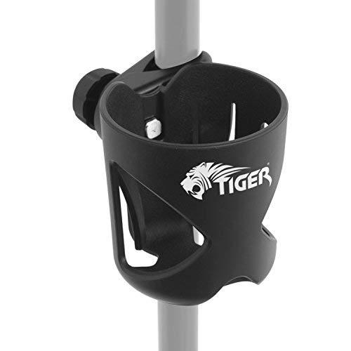 Tiger MSA79-BK Getränkehalter zum Anklemmen für Notenständer, Mikrofonständer und Trommelständer, Getränkehalter für Sänger, Schlagzeuger, Gitarristen und Bassisten