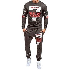 Männer Brief Muster Sport Tragen Sets, Lässige Mid Waist Hose Und Langarm Rundhals Pullover Für Gym Jogging Workout (2 Stück Set)