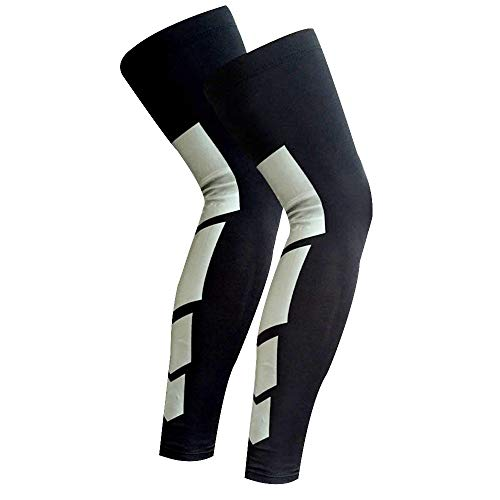 Just rider Sport Knee Support Braces Calf Compression Sleeves Trainning Workout Guard Unisex Long Leg Socks - One Pair (BLACK, XL)