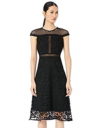 TRUTH & FABLE Women's Dress with Mixed Lace, Black, 6 (Manufacturer Size: XX-Small)