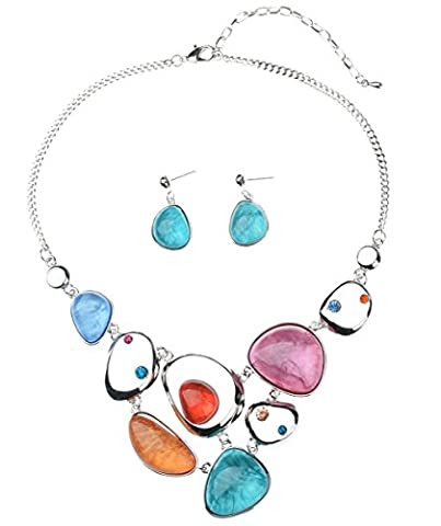 GX shop Fashion Vintage Womens 4 Colors Retro Elegant Style Leaves Shape Necklace Earring Sets (NK-11078)