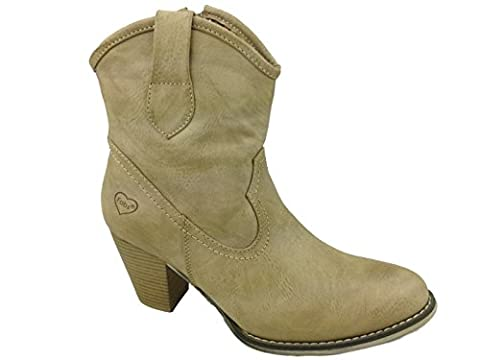 Ladies Fabs Classic Cowboy Western Faux Leather Zip Up Block Cuban Heel Casual Riding Ankle Boots Size 3-8 (UK 8, Taupe )