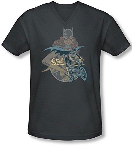 Dc - Männer Batgirl Biker V-Neck T-Shirt Charcoal