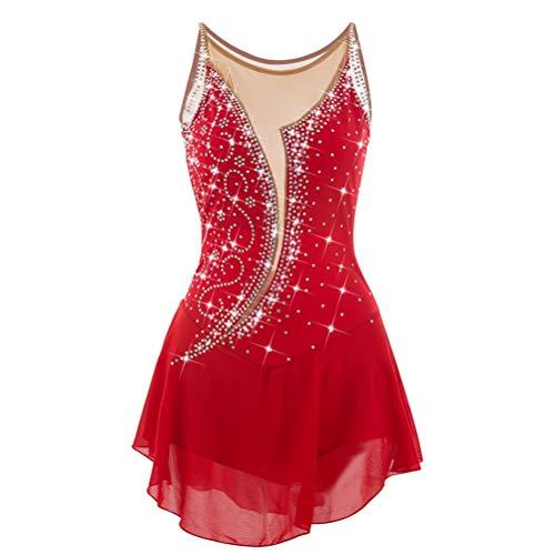 skunstlaufkleid Frauen/Mädchen Skating Performance Wettbewerb Kleidung Strasssteine Atmungsaktiv Eislaufen Rock Mesh-Stitching, 14 ()