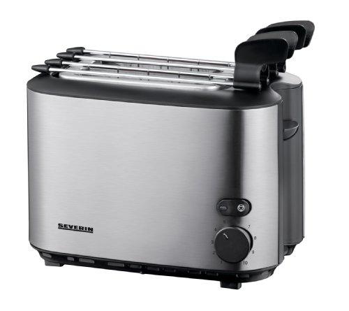 Severin AT 2516 Automatik-Toaster mit Sandwich-Zangen, Edelstahl-gebürstet-schwarz / 500 W