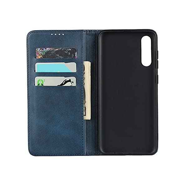 FAWUMAN Wallet Phone Case,Premium Leather Flip Cover with Kickstand,Magnets closure and Credit Slots for Samsung Galaxy A70S (Blue) FAWUMAN 1. PREMIUM QUALITY: Made of high quality Leather+TPU, firm and durable; precise cutouts ensure full access to ports and function buttons, speakers and camera. 2. WALLET CASE features 3 card slots plus a cash compartment underneath, combines your wallet and phone case into one handy unit. 3. HIDDEN MAGNETS keep the case closed Full Body Protection, protect the phone screen from scratch or broken when you put it in bag with your keys etc; 3