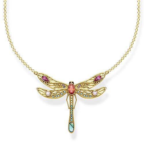 THOMAS SABO Damen Kette Libelle groß 925er Sterlingsilber; 750er Gelbgold Vergoldung, Schwarz Emailliert KE1838-316-7