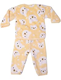 Icable Baby Boys Baby Girls Infants Kids Shearing Velvet Full Sleeves Winter Wear Night Suit (Yellow, 6-12 Months)