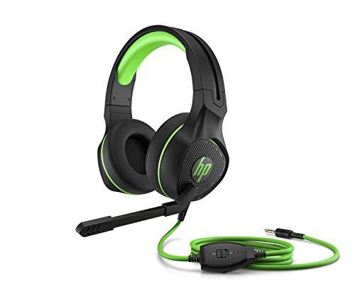 Oferta de HP Pavilion 400 - Auriculares Gaming con micrófono (Sonido estéreo, Controles Integrados en el Cable, Conector analógico de 3.5 mm) Negro y Verde, Talla Única