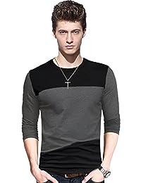 LEWEL Men's Stylish Cotton T-Shirt Round Neck Full Sleeve Black, Grey Casual T-Shirt, (100% Cotton Bio Washed)
