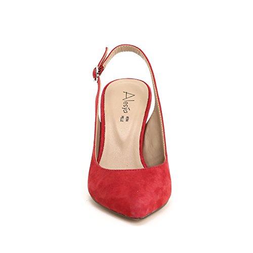 ALESYA by Scarpe&Scarpe - Sandales hautes avec bout pointu, en Cuir, à Talons 7 cm Rouge