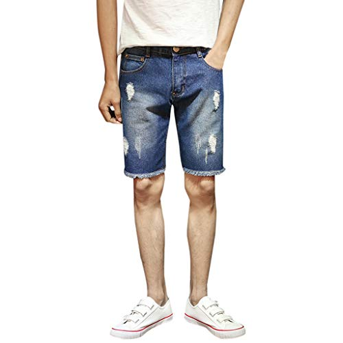 ZHANSANFM Herren Jeans Shorts Hohl Bermuda Straight-Cut Kurze Jeanshose Outdoor Taschen Elastische Jeanshorts Mode Retro Freizeithose Regular Fit Elegant Shredded Denim Short (32, Blau)