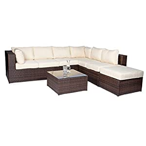 Vanage Montreal Gartenmöbel-Set XXXL, schöne Polyrattan Lounge Möbel für Garten, Balkon und Terrasse 2 Dreisitzer, braun/beige
