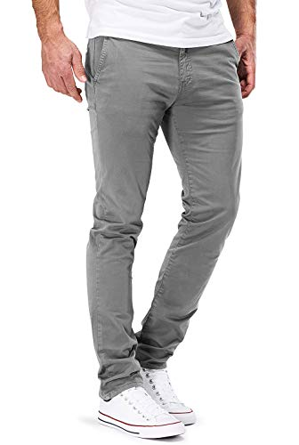 DSTROYED ® Chino Herren Slim fit Chinohose Stretch Designer Hose Neu 505 (33-30, 505 Hellgrau) -