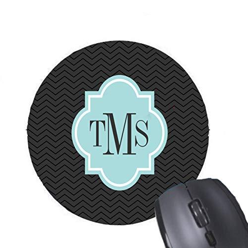 Gaming Mouse Pad Elegantes graues und blaugrünes Monogramm mit 3 Buchstaben Design für Desktop und Laptop 1 Packung Herzförmige Mauspad (3 Buchstaben-monogramm)