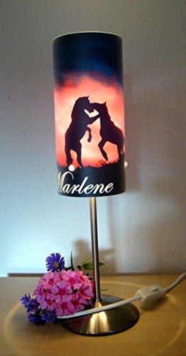 Pferd Leuchten (Tischlampe, Kinderzimmer Lampe, Nachttischleuchte, Kinderlampe, Schlummerlampe, Baby Lampe, mit Namen, mit Stecker für Steckdose, für LED Leuchtmittel geeignet, Junge, Mädchen, Pferd)