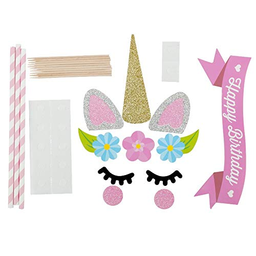 Einhorn Geburtstag Cake Topper Set, Dekoration Mit Karte Set Blume Happy Birthday Flag Party Supplies Für Kinder Baby