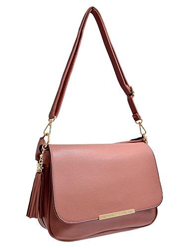 CRAZYCHIC - Damen Große Umhängetasche mit Troddel und Gold Reißverschluss - Handgelenk Tasche mit Schulterriemen - Zöpfe Henkel Handtasche - Mode Frau Henkeltasche Schultertasche - Alte Rose