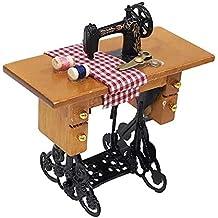 Mini máquina de Coser con Hilo para Muebles de Madera 1/12 de casa de