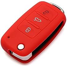 9MOON 3Botón remoto flip clave Shell caso para VW Golf, Passat, Bora Jetta Touran, Polo, Tiguan, Touareg, Seat, Skoda Octavia, Fabia, Superb, Roomster Yeti, suave silicona