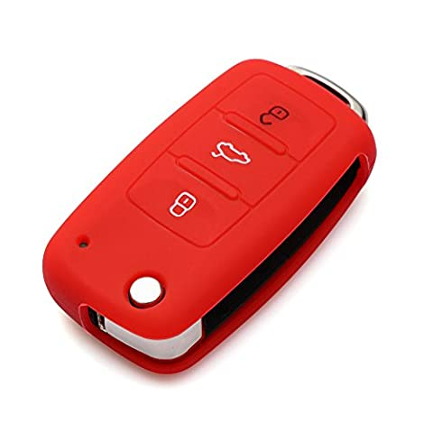 9 MOON® Soft Silicone 3 Button Remote Flip Key Shell Case,Red fit Golf Passat Bora New Beetle Scirocco Jetta Touran Fox Polo Tiguan Eos Sharan Touareg Phateon Caddy T5 Amarok Lupo Seat Altea Alhambra Leon Ibiza Exeo Cordoba Arosa Red