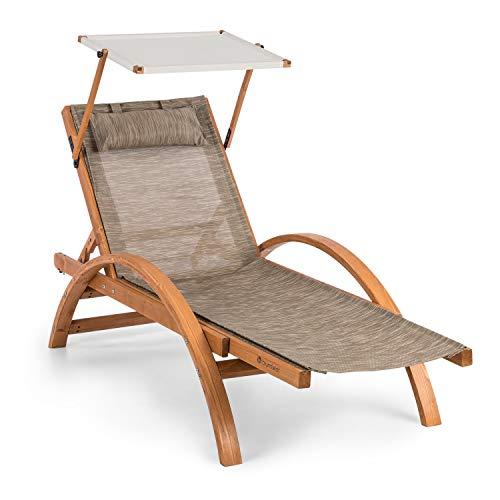 Blumfeldt panamera - sdraio con parasole, lettino da giardino, sdraio, tettuccio apribile, ergonomico, comfortmesh, pino finlandese, max. 110kg, incluso cuscino, crema