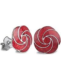 Aden's Jewels - Pendientes de plata 925, para mujer, coral rojo, forma de flor en espiral, plata, diámetro de 15mm