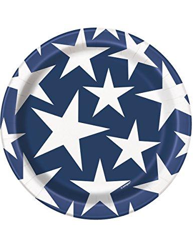 Unique Party 5864418cm Stars und Stripes 4. Juli Pappteller, 8Stück