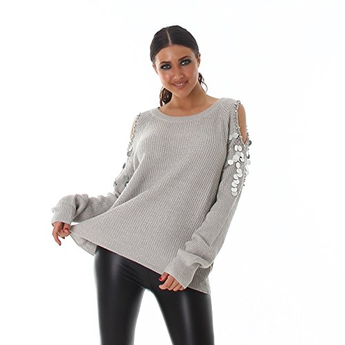 Voyelles - Pull - Femme Taille unique Gris