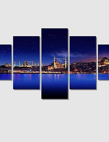 JIA&YOU Paesaggio / Romantico Print Canvas Cinque Pannelli Pronto da appendere , Orizzontale , navy blue