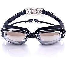 Gafas de Natación Sin Fugas Versión Clara Anti Niebla Protección UV con Estuche Protector y Enchufe de Oído (Negro)