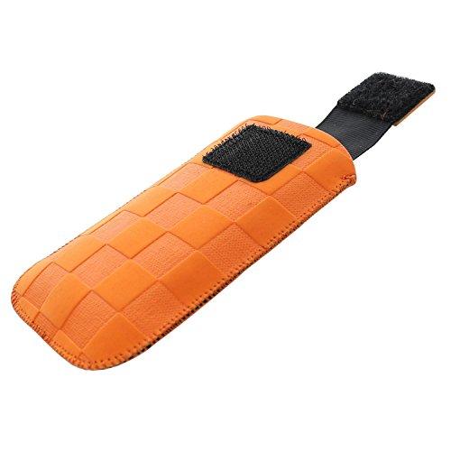 XiRRiX Handytasche mit Ausziehhilfe Size S passend für Doro PhoneEasy 609 6030 Primo 413 414 - Swisstone BBM 625 - Handy Tasche orange Dirt Look