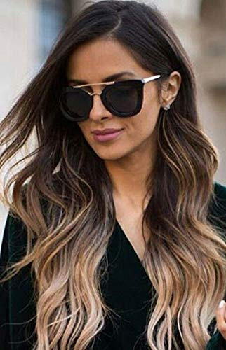 LaaVoo 20 Zoll Sew in Weft Haarverlängerungen Remy Human Hair #1B/8/12 Balayage Natural Black and Light Brown Glatte Hand gebundenes Haar 100g -