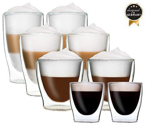 DUOS 8er-Set doppelwandige Thermo-Gläser 2X 80ml Espresso / 2X 200ml Teeglas / 2X 310ml Latte Macchiato / 2X 400ml Longdrink - je im 2er-Set verpackt, by Feelino