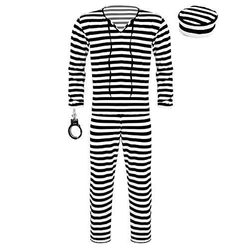 CHICTRY Herren Gefangenen Kostüm Sträfling Cosplay Outfits 4tlg.Sets - Gestreifter Shirt, Hose, Mütze, Handschell - Halloween Party Verkleidung Schwarz & Weiß - Gefangener Kostüm Shirt