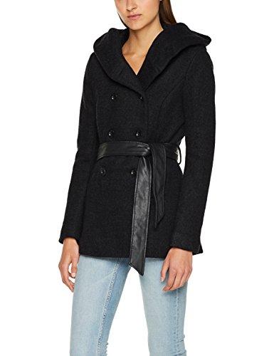 ONLY Damen Jacke Onlmary Lisa Short Wool Coat CC Otw Grau (Dark Grey Melange), 40 (Herstellergröße: L) (Taille Wollmischung)