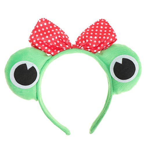 FLAMEER Erwachsene Kinder Haarreifen mit Frosch Augen Froschkostüm Tierkostüm Kostüm für Halloween Fasching Karneval Party - Frosch Prinzessin, 11 cm