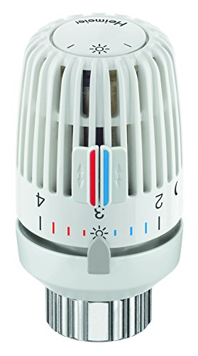TA Heimeier 9710-24.500 Thermostat-Kopf VK Flüssigkeitsgefüllt und 2 Sparclips, Skalenhaube weiss
