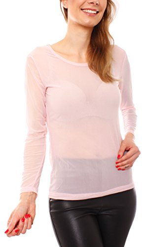 Damen Lingerie Mesh Tüll Netz T-Shirt Unterziehshirt Stretch Transparent Langarm Rundhals One Size Rosa