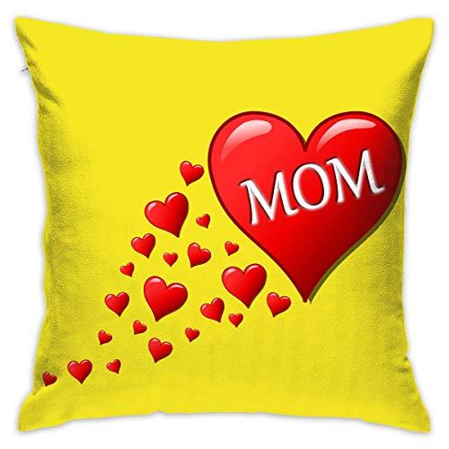 FPDecor Funda de Almohada, Throw Pillow Covers Love Mom Hearts Decorative Cushion Case for Sofa Bedroom...