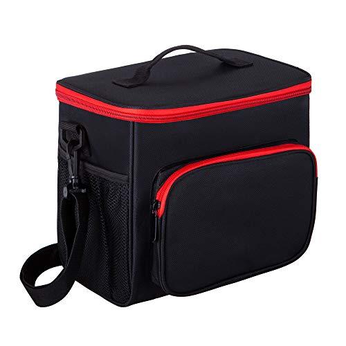 Ok-dragon® borsa da pranzo per adulti borsa termica grande per laptop e borsa termica per uomini e donne, borsa termica a doppio ponte con borsa a tracolla regolabile (nera)